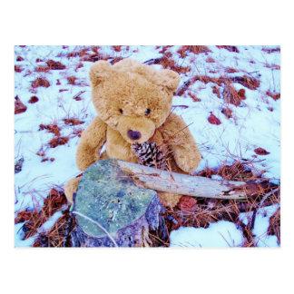 Carte Postale Ours de nounours dans la neige, teinte de bleu de