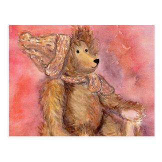 Carte Postale Ours de nounours dans le casquette et l'écharpe