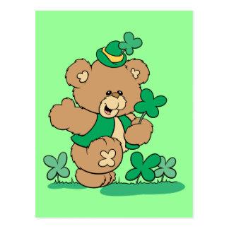 Carte Postale Ours de nounours du jour de St Patrick