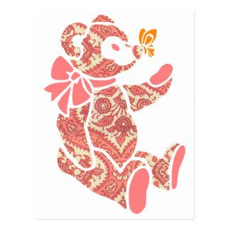 Carte Postale Ours de nounours floral rose avec le papillon