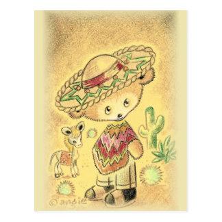 Carte Postale Ours de nounours mexicain dans le sombrero