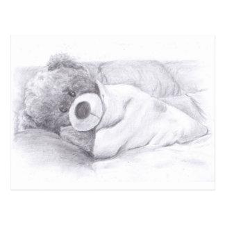 Carte Postale Ours de nounours paresseux et somnolent