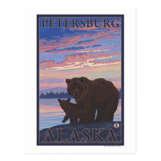 Carte Postale Ours et CUB - Pétersbourg, Alaska