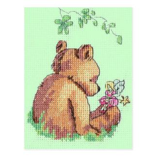 Carte Postale Ours et fée de bébé dans la forêt !