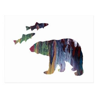 Carte Postale ours et saumon