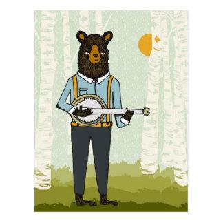 Carte Postale Ours jouant le banjo