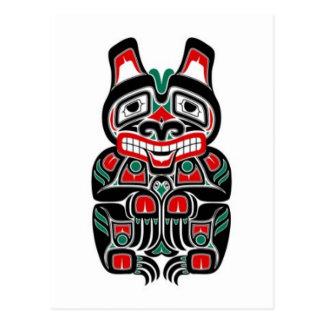 Carte Postale Ours rouge et vert d'esprit de Haida