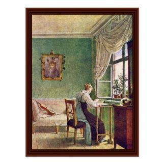 Carte Postale Ouvrière couturière à la fenêtre