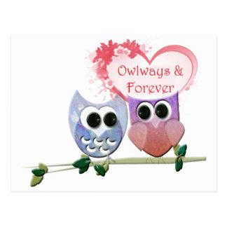 Carte Postale Owlways et pour toujours, hiboux mignons