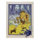 Carte Postale Page lâche de livre de magicien d'Oz de lion