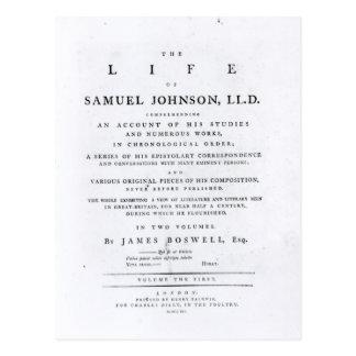 Carte Postale Page titre, 'de la vie de Samuel Johnson