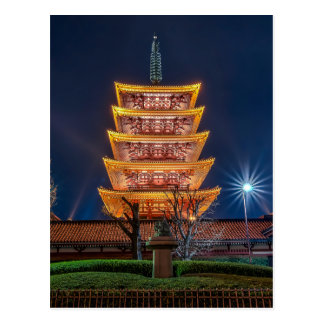 Carte Postale Pagoda de Cinq-Toit au temple d'Asakusa, Tokyo