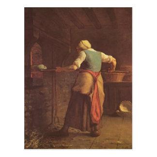 Carte Postale Pain de cuisson de femme de millet de