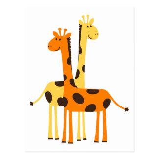 Carte Postale Paires drôles mignonnes de girafe