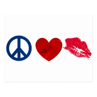 Carte Postale Paix, amour, baiser de rouge à lèvres
