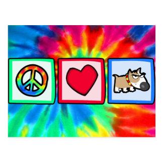 Carte Postale Paix, amour, chien grincheux