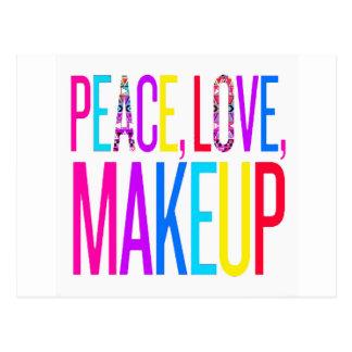 Carte Postale Paix, amour et maquillage