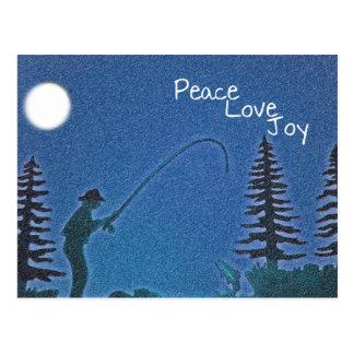 Carte Postale Paix, amour, joie/pêcheur de mouche dans la neige