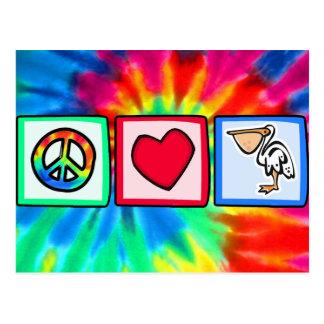 Carte Postale Paix, amour, pélicans