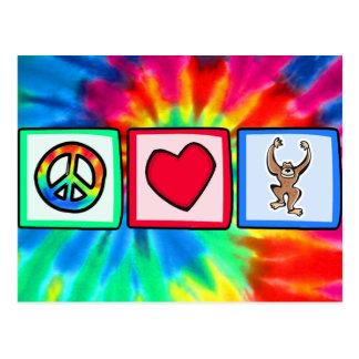 Carte Postale Paix, amour, singes
