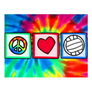Carte Postale Paix, amour, volleyball