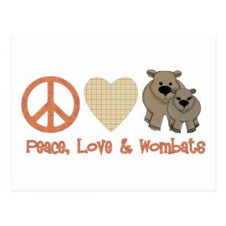 Carte Postale Paix, &amp d'amour ; Wombats