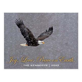 Carte Postale Paix d'amour de joie - vol d'aigle chauve dans la