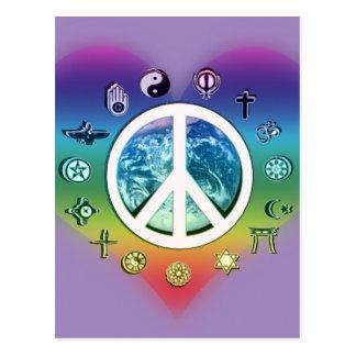 Carte Postale Paix du monde avec des symboles religieux