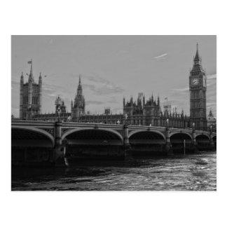 Carte Postale Palais blanc noir de tour de Big Ben de
