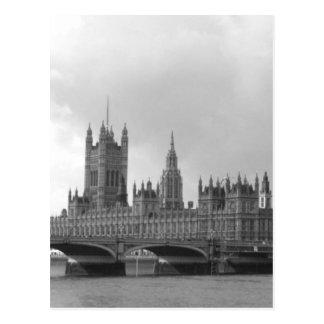Carte Postale Palais noir et blanc de Westminster
