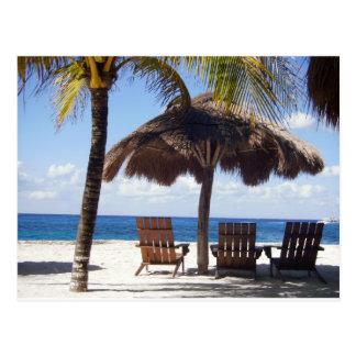 Carte Postale Palmiers et plage du Mexique de chaises