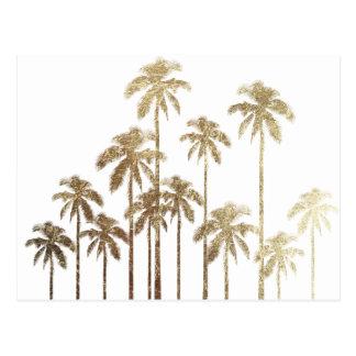 Carte Postale Palmiers tropicaux d'or fascinant sur le blanc