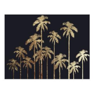 Carte Postale Palmiers tropicaux d'or fascinant sur le noir