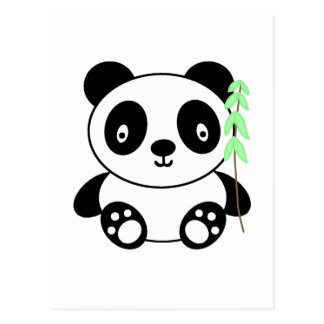 Carte Postale Panda avec le bambou