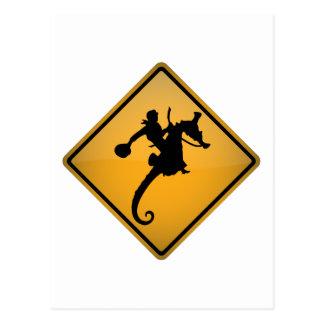 Carte Postale Panneau d'avertissement de rodéo d'hippocampe