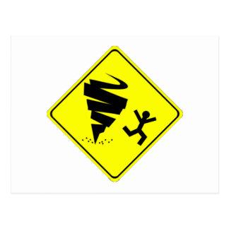 Carte Postale Panneau d'avertissement de tornade