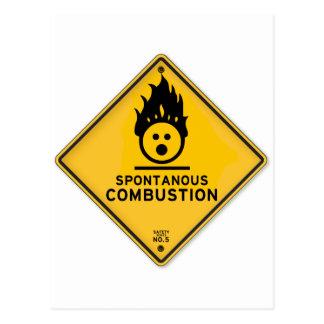 Carte Postale Panneau d'avertissement drôle de combustion