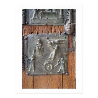 Carte Postale Panneau de la porte de main gauche, 12ème siècle