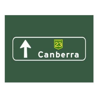 Carte Postale Panneau routier de Canberra, Australie