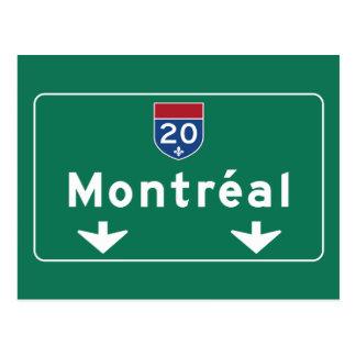 Carte Postale Panneau routier de Montréal, Canada