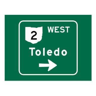 Carte Postale Panneau routier de Toledo, OH