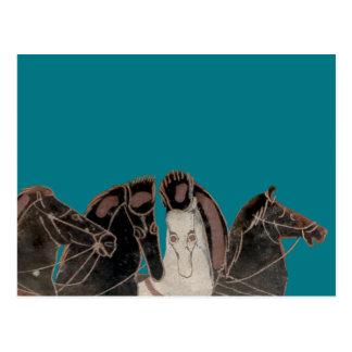 Carte Postale Panoplie - chevaux de char du grec ancien