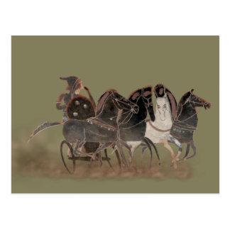 Carte Postale Panoplie - le char et les chevaux du grec ancien