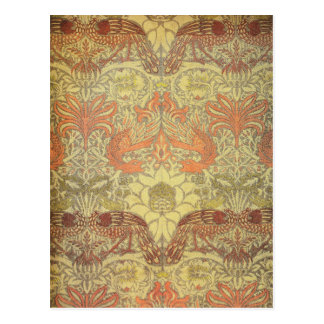 Carte Postale Paon de William Morris et motif de dragon