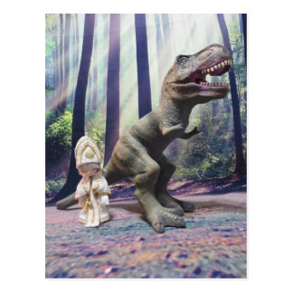 Carte Postale Pape minuscule et le Tyrannasaurus Rex