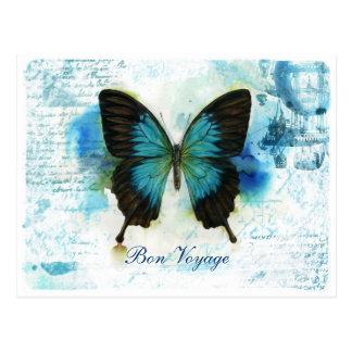 Carte Postale Papillon bleu VictorianTravel de voyage de fève