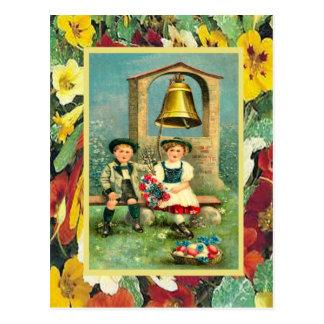 Carte Postale Pâques vintage, enfants bavarois et oeufs