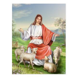 Carte Postale Pâques vintage religieuse, Jésus le berger
