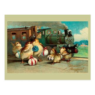 Carte Postale Pâques vintage russe avec le train
