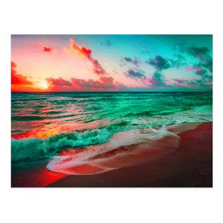 Carte Postale Paradis tropical de coucher du soleil sur la plage